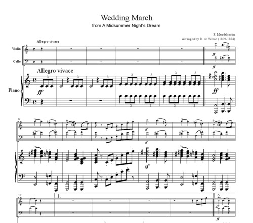 Pay For Mendelssohn Wedding March Piano Trio Pm101