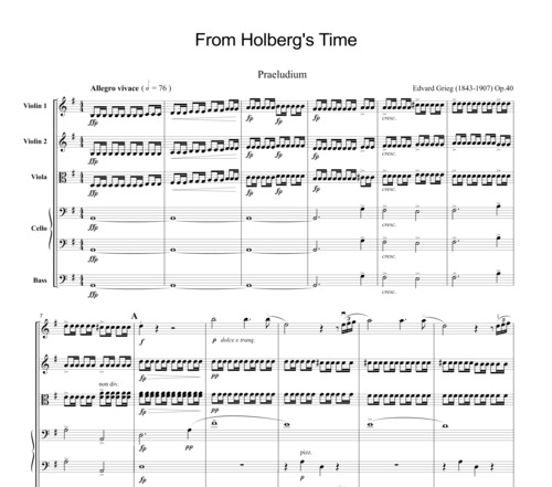 Pay for Grieg From Horberg´s Time, for string orchestra, SG010
