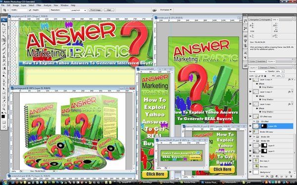 Pay for Minisite Template PSD Graphics - Answer Marketing Traffic