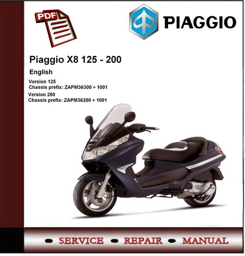 piaggio x8 125 200 workshop service repair manual download manu rh tradebit com Kenworth Truck Repair Manual Piaggio Scooters
