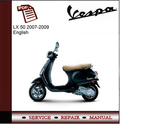 Vespa Lx 50 2007-2009 Workshop Service Manual