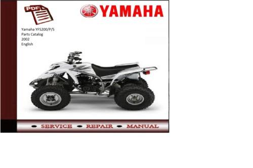 Yamaha 2002 yfs200 p s parts catalog manual download for Yamaha electronic parts catalog