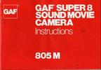 Thumbnail GAF 805 M Super 8 Sound Movie Camera Manual