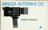 Thumbnail MINOLTA AUTOPAK-8 D12 SUPER 8 CAMERA MANUAL