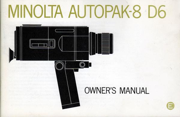 Pay for MINOLTA AUTOPAK-8 D6 SUPER 8 CAMERA MANUAL-ENGLISH