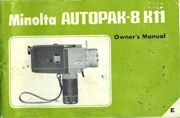 Pay for MINOLTA AUTOPAK-8 K11 SUPER 8 CAMERA MANUAL