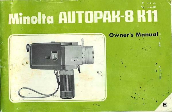 Pay for MINOLTA AUTOPAK-8 K11 SUPER 8 CAMERA MANUAL