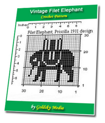 Pay for Vintage Filet Elephant Crochet Pattern Ebook