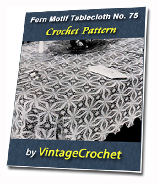 Pay for Fern Motif Tablecloth Vintage Crochet pattern eBook (PDF)
