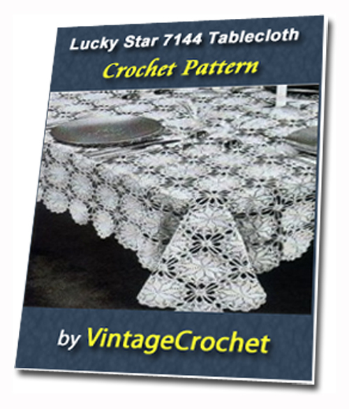 Pay for Lucky Star Tablecloth Vintage Crochet pattern eBook (PDF)