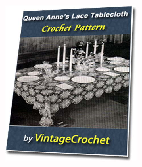 Pay for Queen Annes Lace Tablecloth Vintage Crochet pattern eBook