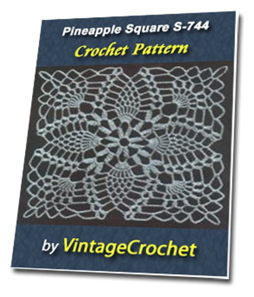 Pineapple Square S-744 Vintage Crochet Pattern