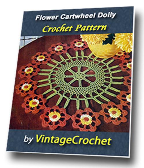 Pay for Flower Cartwheel Doily Vintage Crochet Pattern