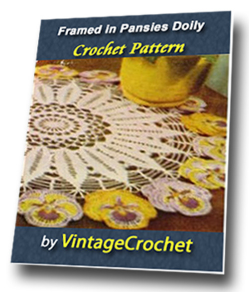 Pay for Framed in Pansies Doily Vintage Crochet Pattern