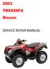 Thumbnail 2003 Honda TRX650FA  TRX 650 FA Rincon Repair Service Manual
