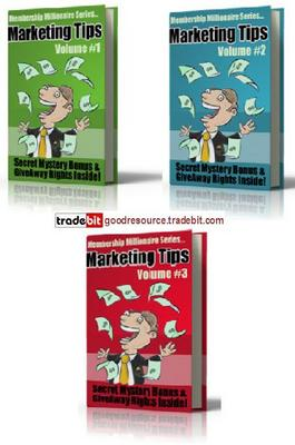 Pay for *New* Millionaire Marketing Tips Vol 1-3 (Mrr)