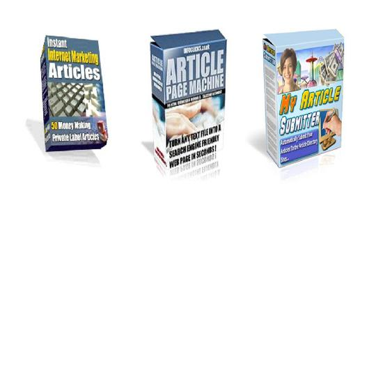 Pay for *BEST VALUE* 3-in-1 Article Marketing Pack: Includes software and articles - $7