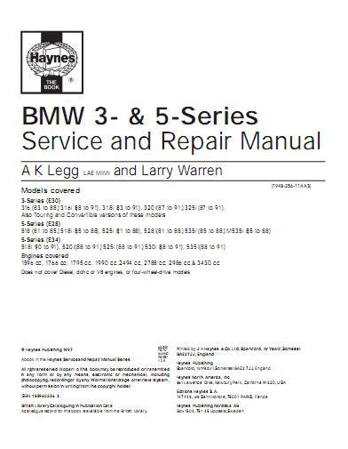 bmw 316 316i 318i e30 1983 1991 repair service manual. Black Bedroom Furniture Sets. Home Design Ideas