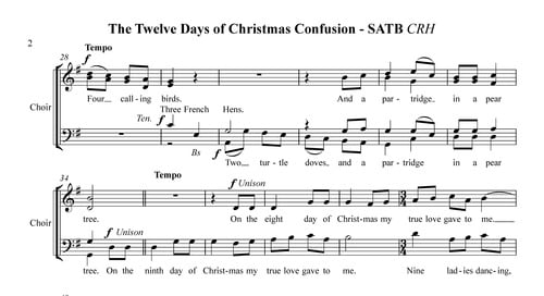 pay for 12 days of christmas confusion for satb a cappella chorus