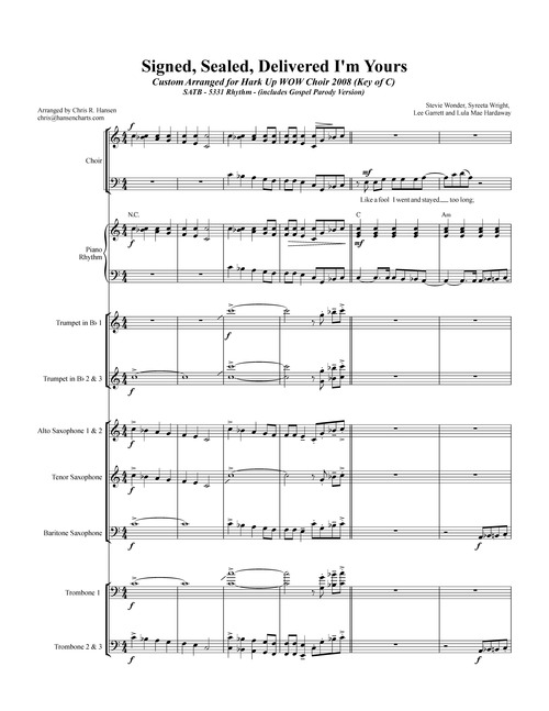 Pay for Signed Sealed Delievered arranged for SATB Choir and 5331 Bi