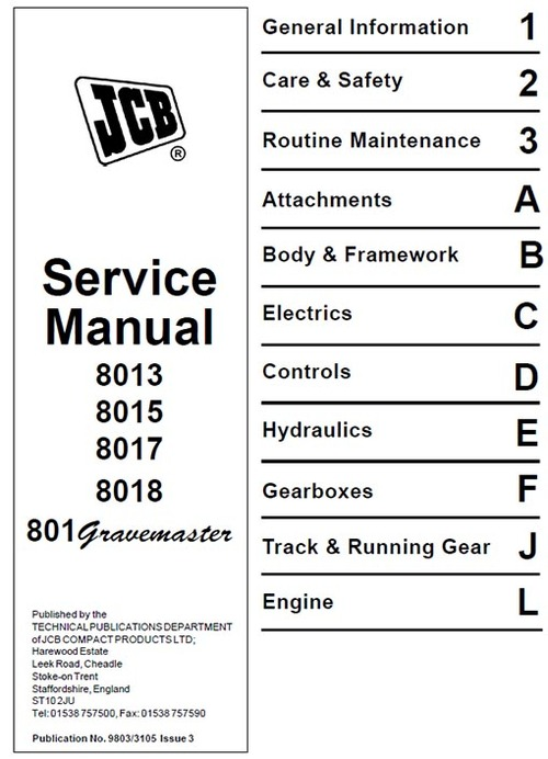jcb 8013 8015 8017 8018 gravemaster workshop service manual downl rh tradebit com jcb 8018 cts service manual JCB 8018 Controls