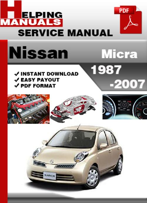 helping manuals nissan micra 1987 2007 service repair manual. Black Bedroom Furniture Sets. Home Design Ideas