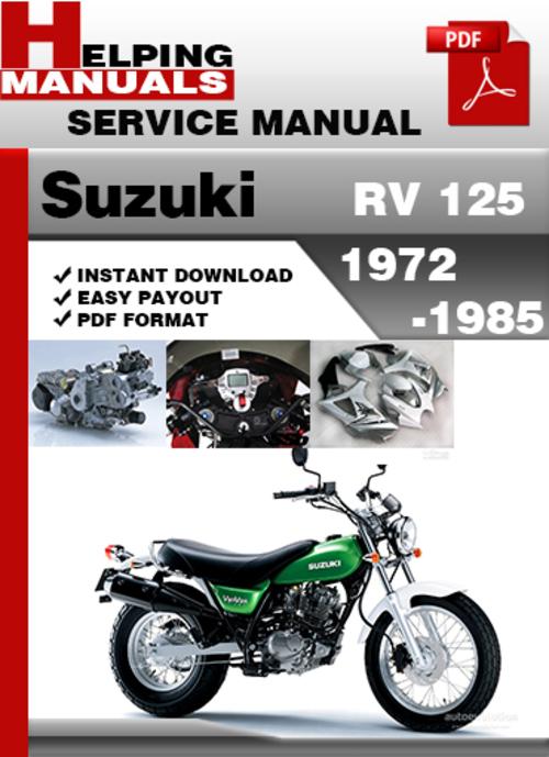 Free Suzuki RV 125 1972-1985 Service Repair Manual Download Download thumbnail