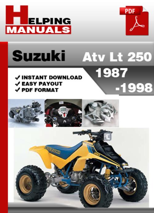 suzuki atv lt 250 1987 1998 service repair manual download downlo rh tradebit com 1994 Suzuki LT250 Parts Suzuki LT 250 Quadrunner