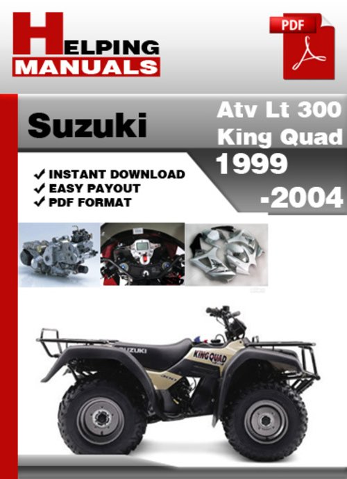 suzuki atv lt 300 king quad 1999-2004 service repair manual dowload