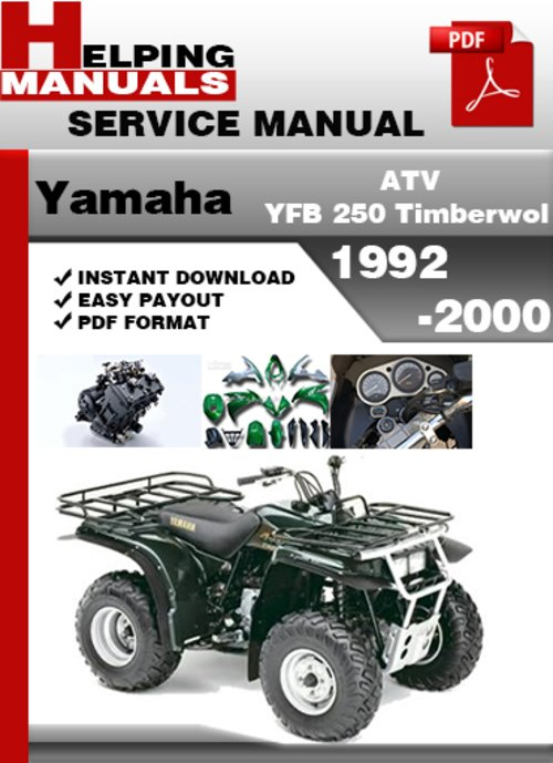 yamaha atv yfb 250 timberwolf 1992 2000 service repair. Black Bedroom Furniture Sets. Home Design Ideas