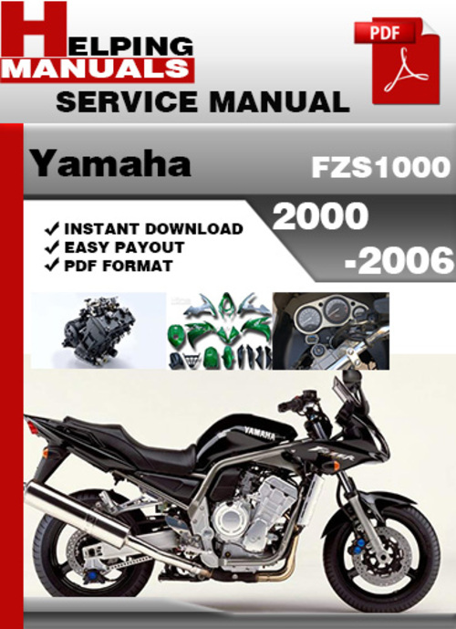 yamaha fzs1000 2000 2006 service repair manual download. Black Bedroom Furniture Sets. Home Design Ideas