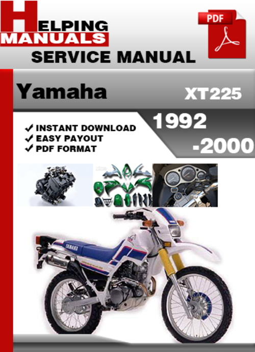 yamaha xt225 1992 2000 service repair manual download. Black Bedroom Furniture Sets. Home Design Ideas