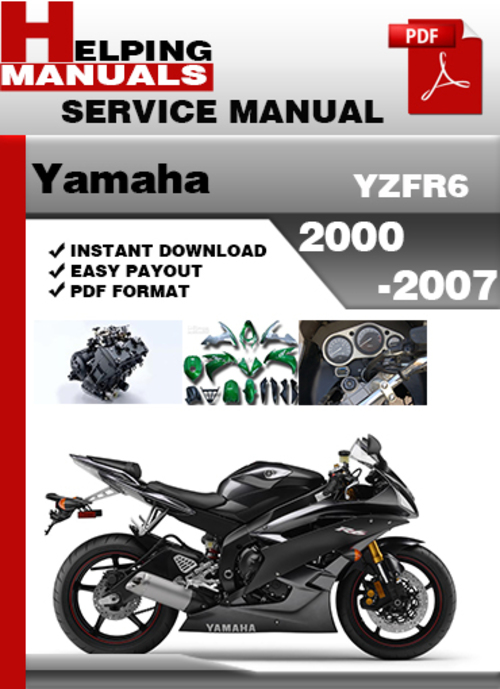 yamaha yzfr6 factory repair manual 2005 2008 download. Black Bedroom Furniture Sets. Home Design Ideas