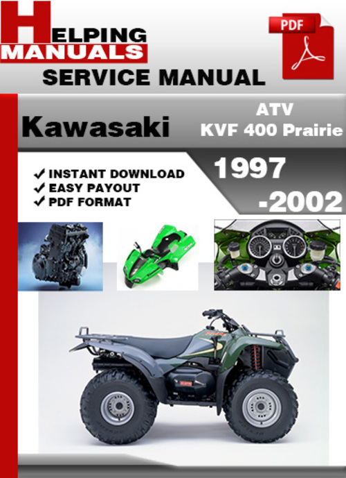 kawasaki kvf 400 prairie 1997 2002 service repair manual download rh tradebit com 1999 Kawasaki Prairie 400 Manual kawasaki 400 prairie service manual