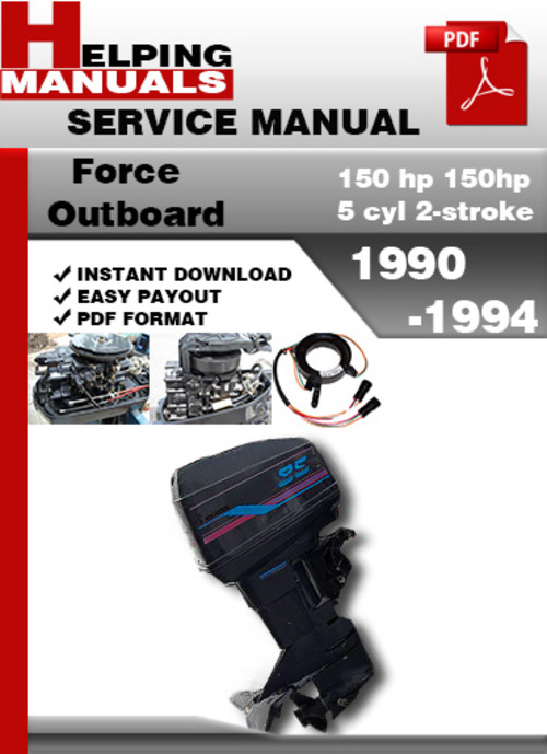 Pay for Force Outboard 150 hp 150hp 5 cyl 2-stroke 1990-1994 Service Repair Manual Download