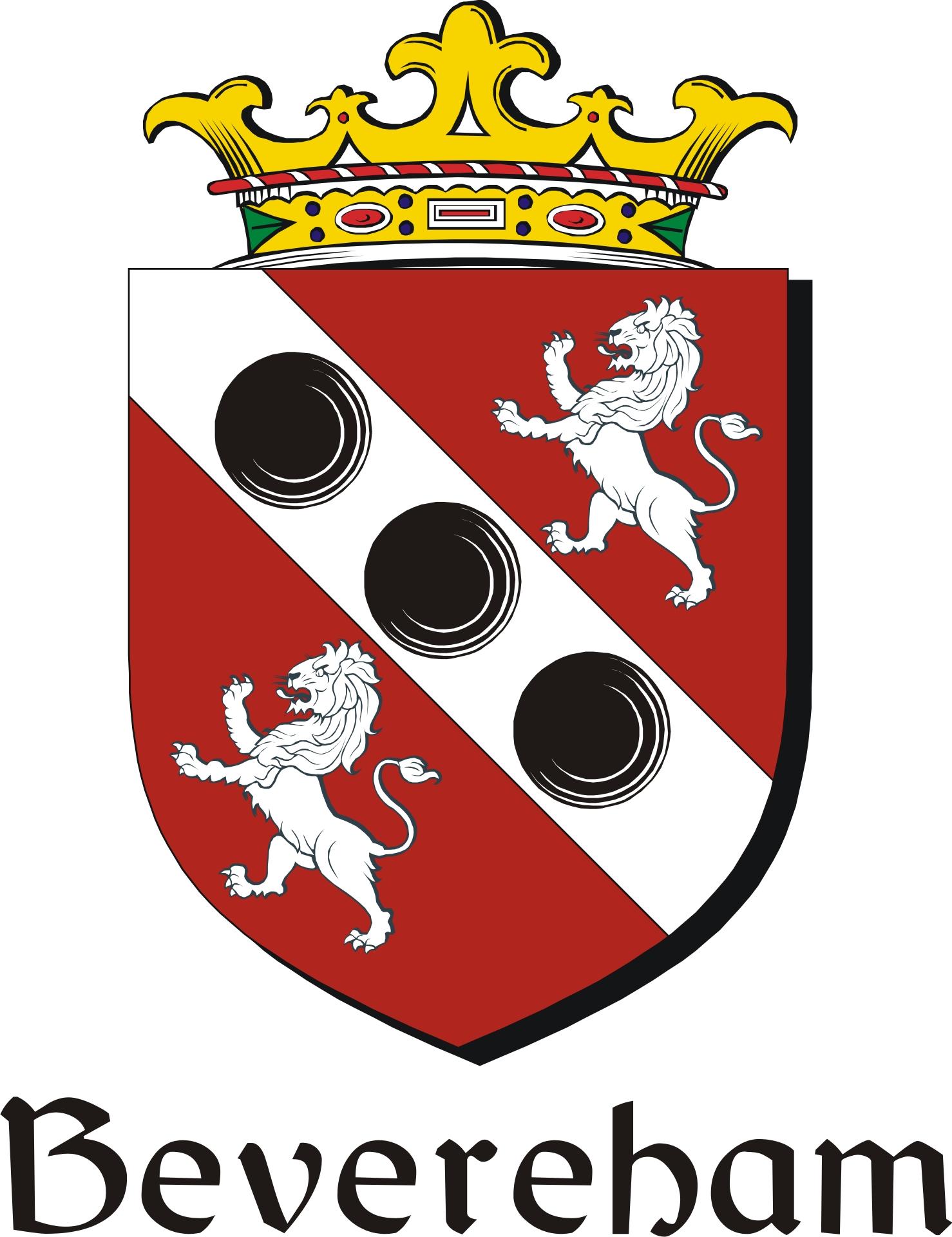 Thumbnail Bevereham Family Crest / Irish Coat of Arms Image Download