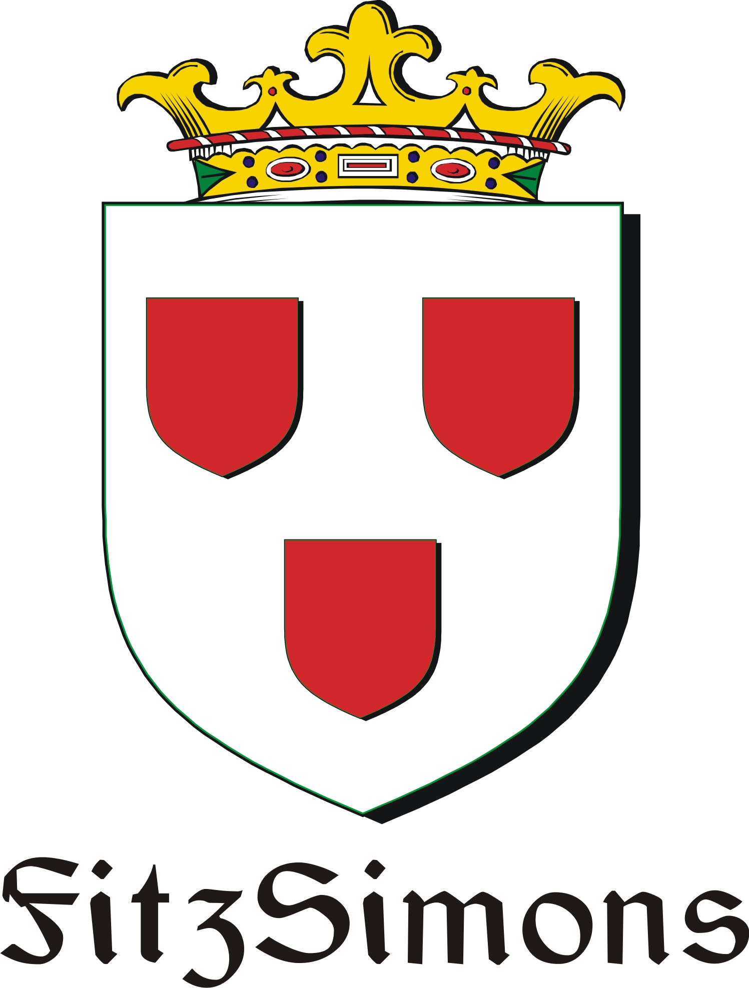 Thumbnail FitzSimons Family Crest / Irish Coat of Arms Image Download
