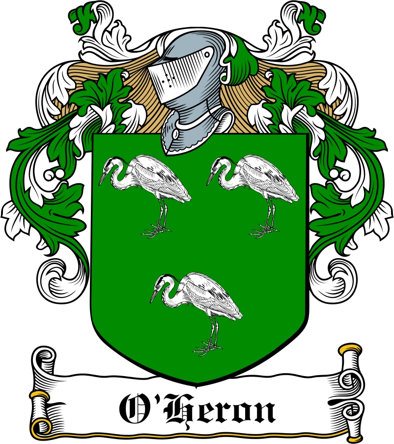 Thumbnail O'Heron Family Crest / Irish Coat of Arms Image Download