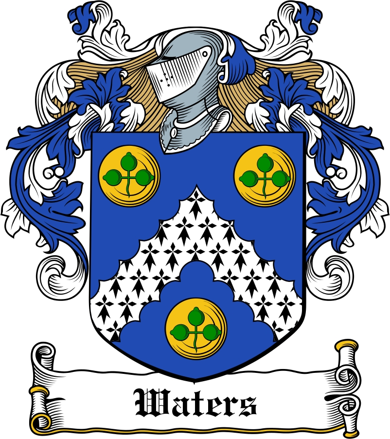 Waters Family Crest Irish Coat Of Arms Image Download