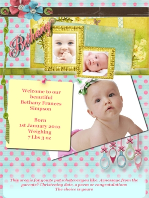 Pay for Shabby Chic Baby Birth Online Announcement