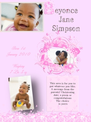 Pay for Pretty pink web baby birth announcement