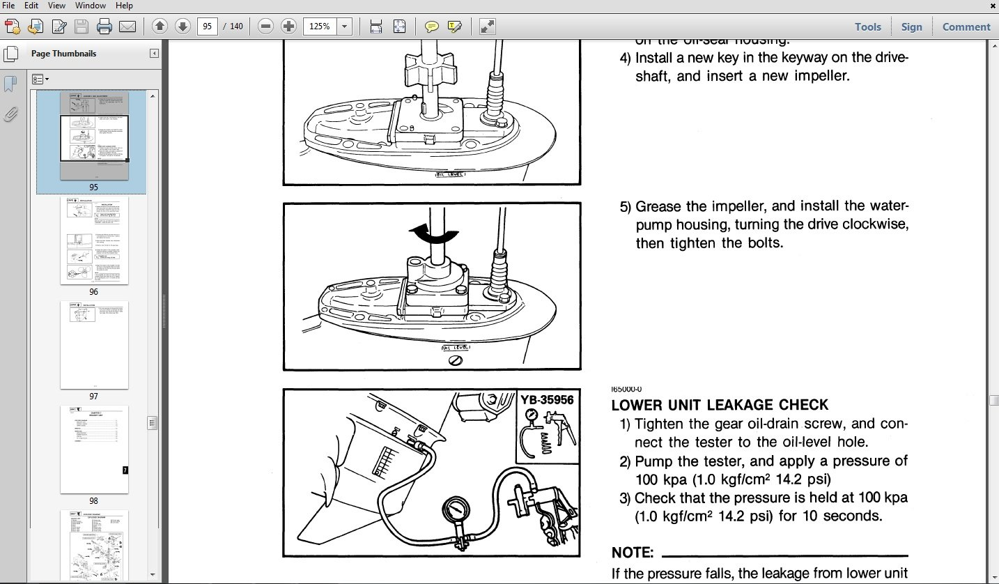 Thumbnail 1996 Yamaha 30MLHU Outboard service repair maintenance manual. Factory