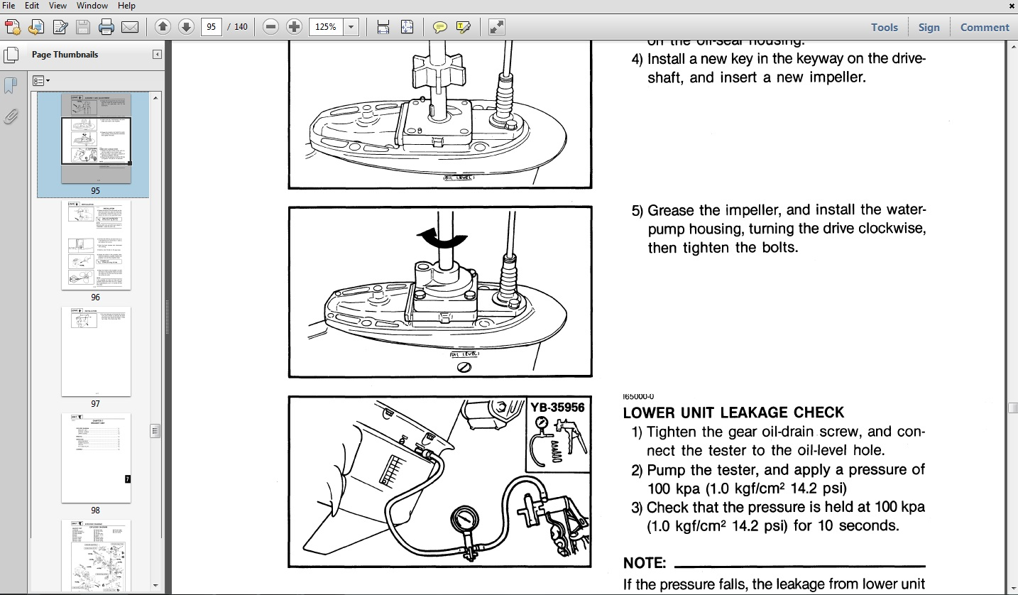 Thumbnail 1996 Yamaha 40TLHU Outboard service repair maintenance manual. Factory