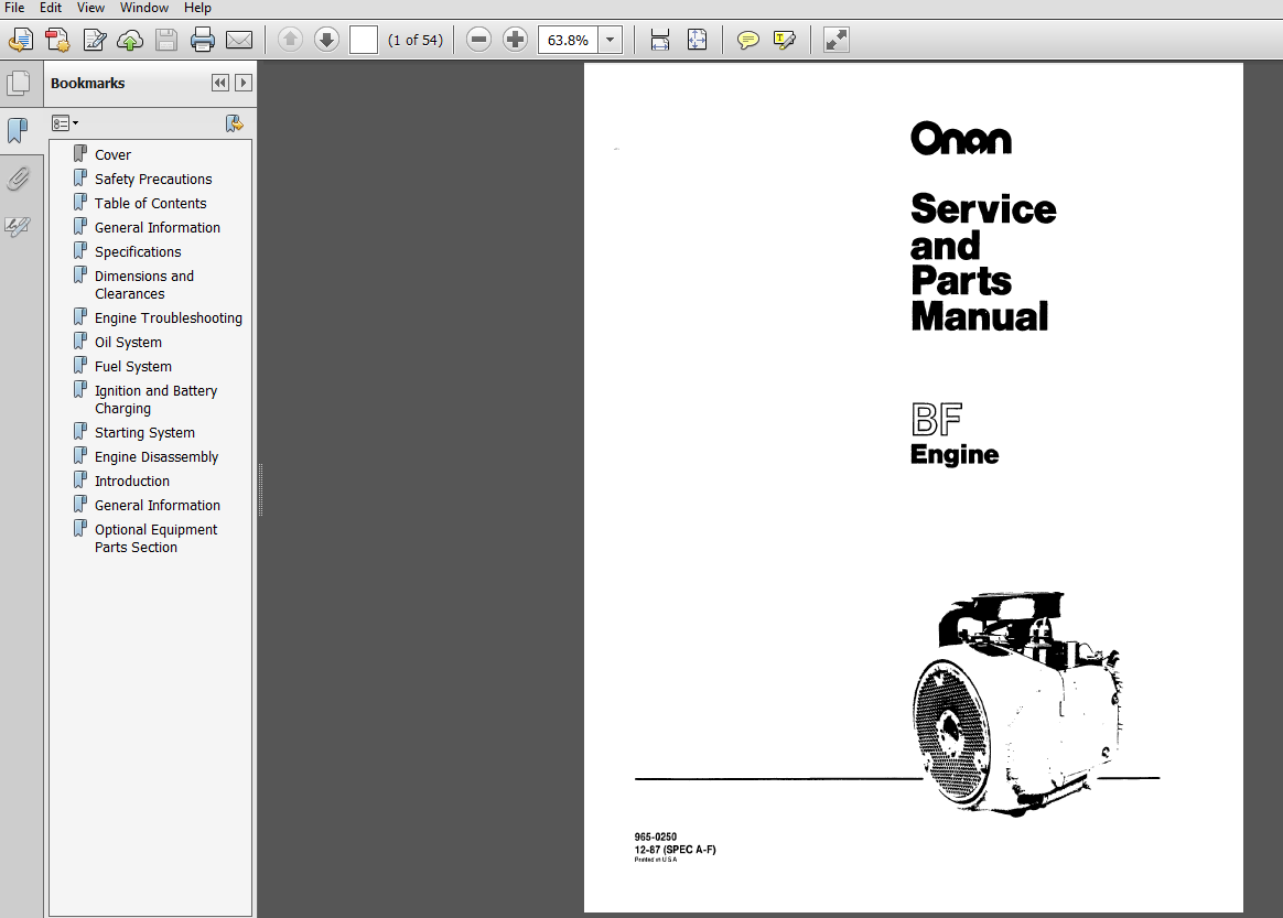 Onan Engine Parts Catalog : Onan bf engine service repair maintenance overhaul shop