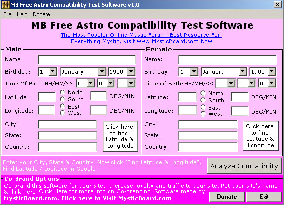 Relationship compatibility test astrology