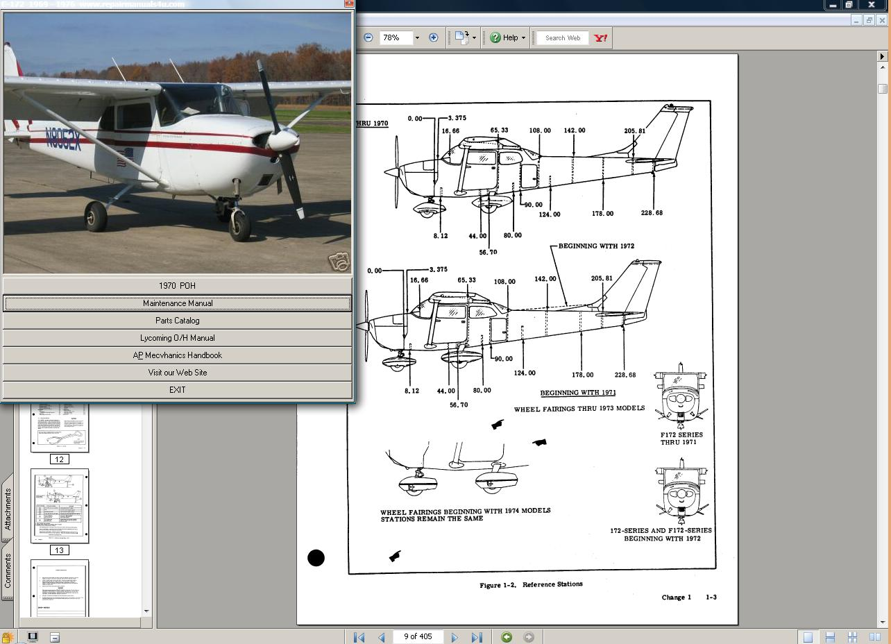 Cessna 172 & Skyhawk manual set + engine 69-76