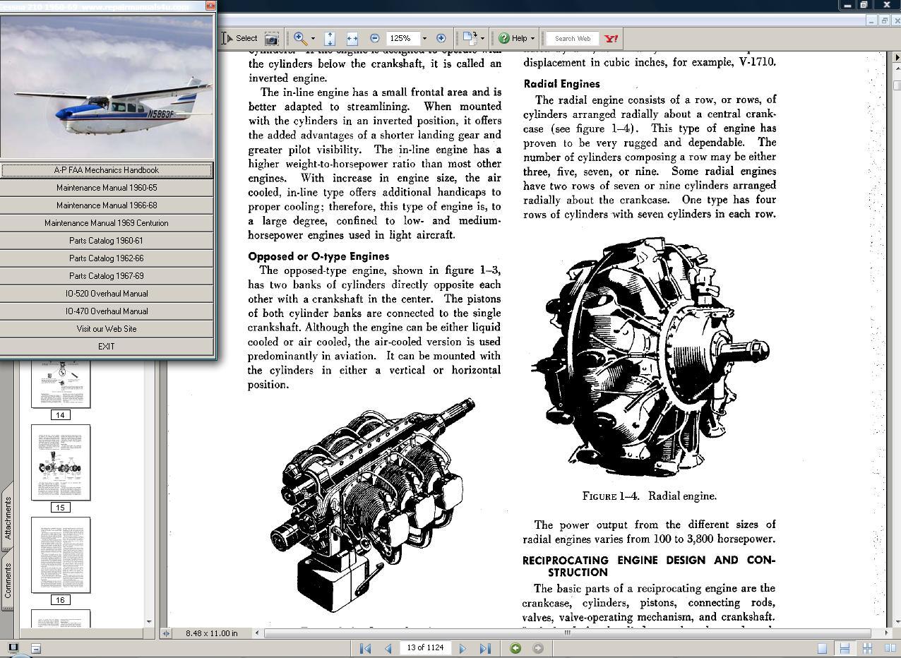 Cessna 210  manual set + engine 1960 - 69