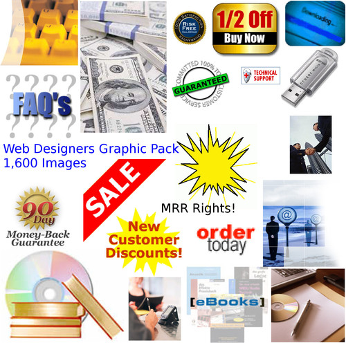 Pay for 1,600 Website Graphics Pack - Free MRR Rights!