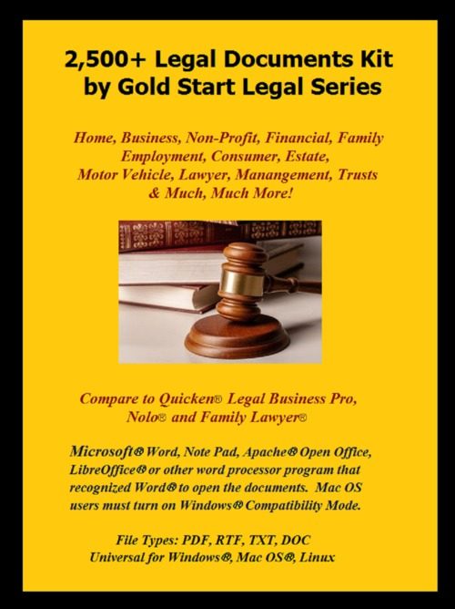 Pay for 2,500+ Legal Documents with Royalty Free License