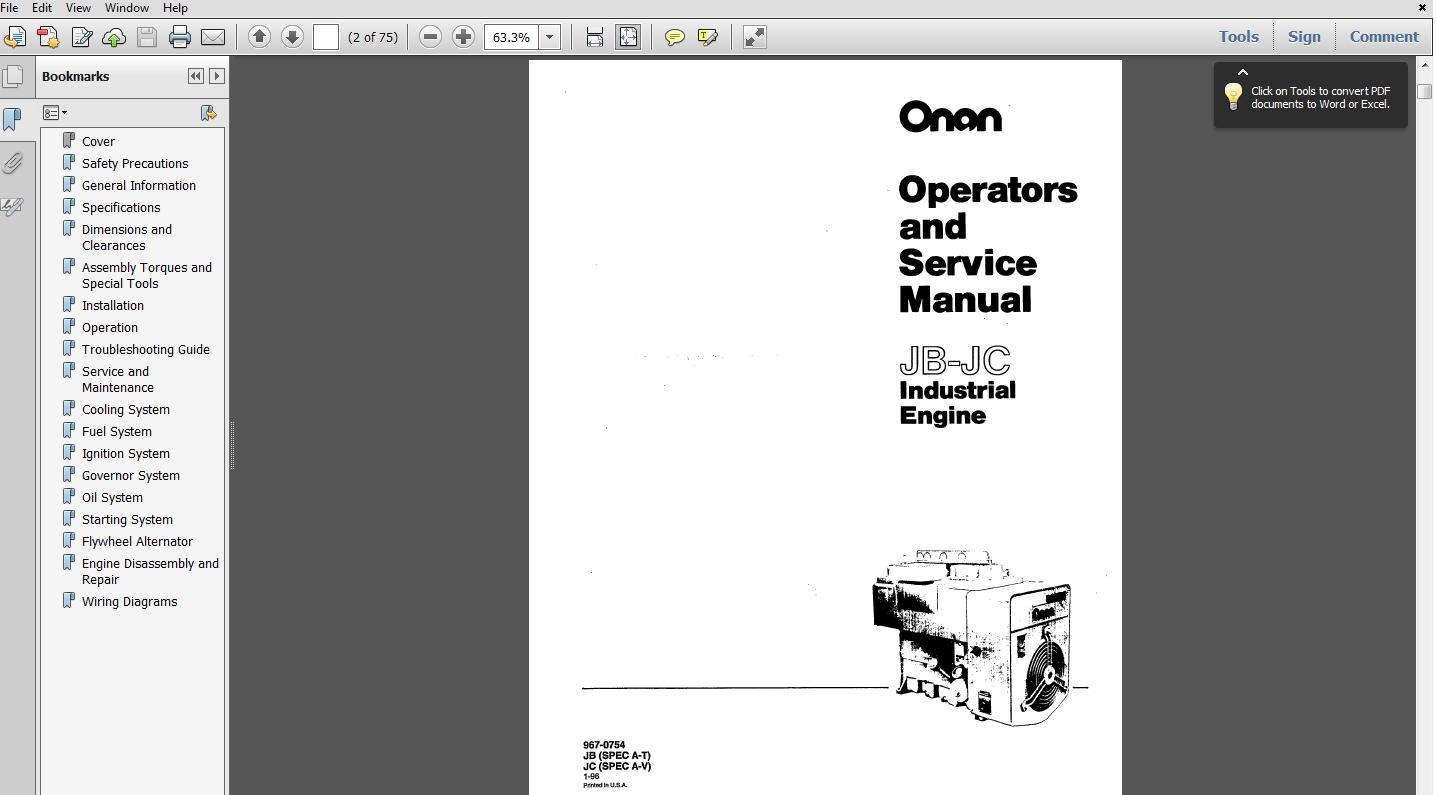 Onan JB-JC ENGINE SERVICE REPAIR MAINTENANCE OVERHAUL SHOP MANUAL SPEC. A-T 967-0754